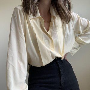 Vintage Tops - Silky Pleated Butter Blouse